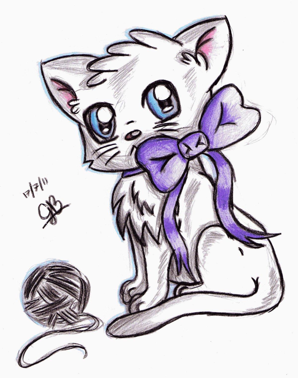 Картинки анимешных котят для срисовки
