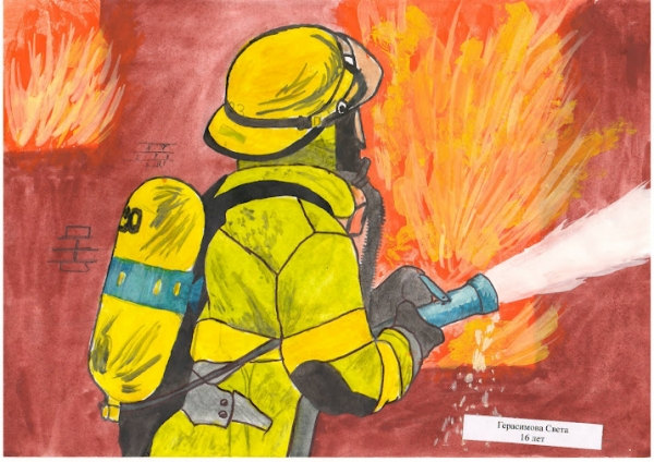 рисунок на тему пожарные тушат пожар была обнаружена