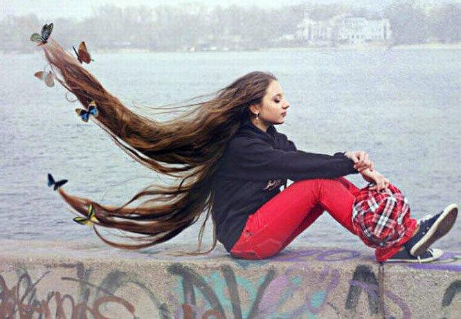 Фото красивых девушек с очень длинными волосами   подборка (10)