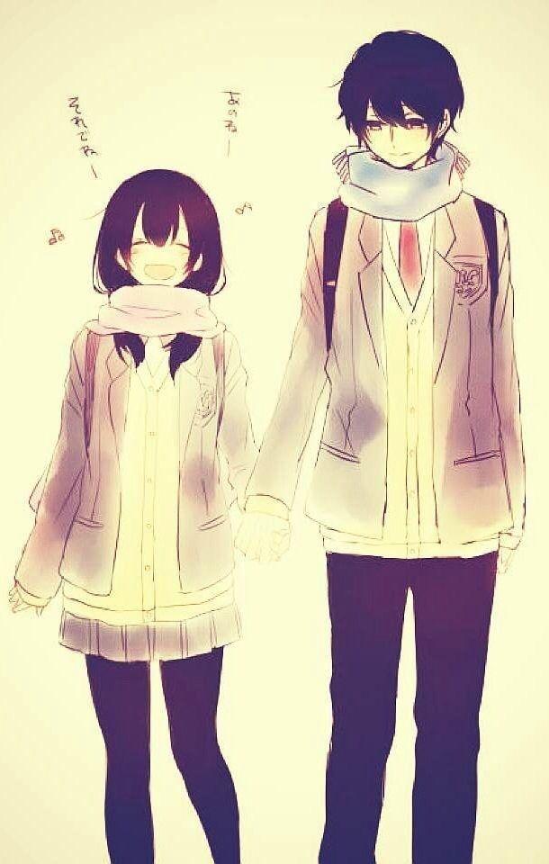 Аниме парень и девушка за руки держатся   картинки (1)