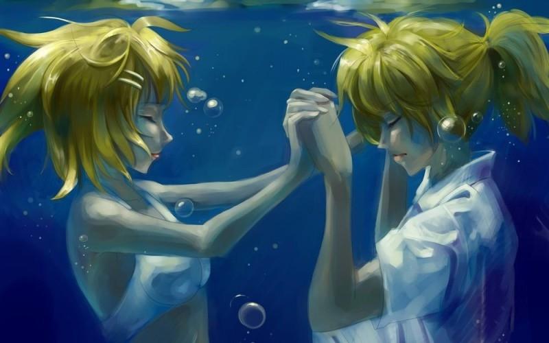 Аниме парень и девушка за руки держатся   картинки (17)