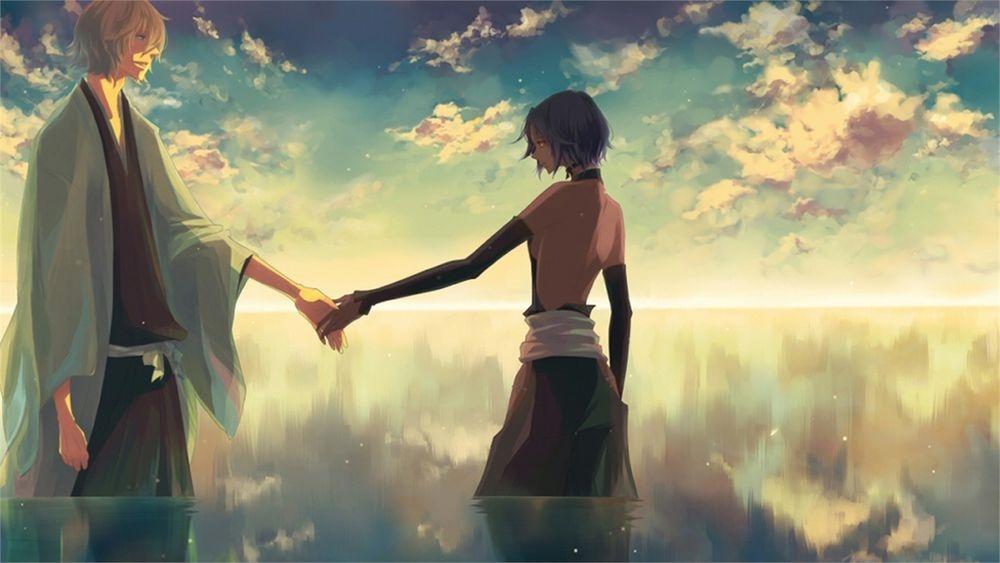 Аниме парень и девушка за руки держатся   картинки (31)