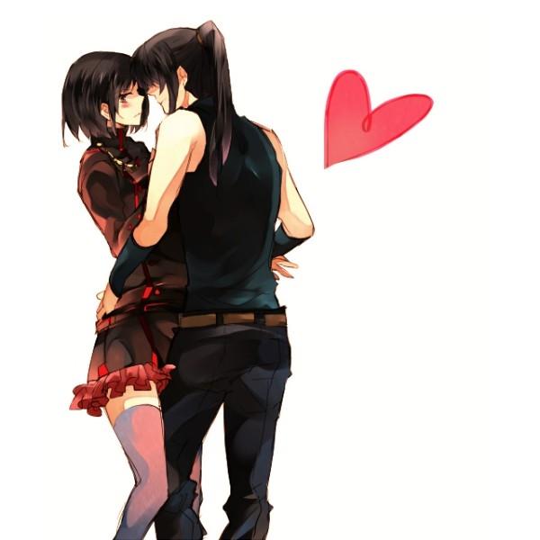 Аниме парень и девушка с черными волосами   картинки024