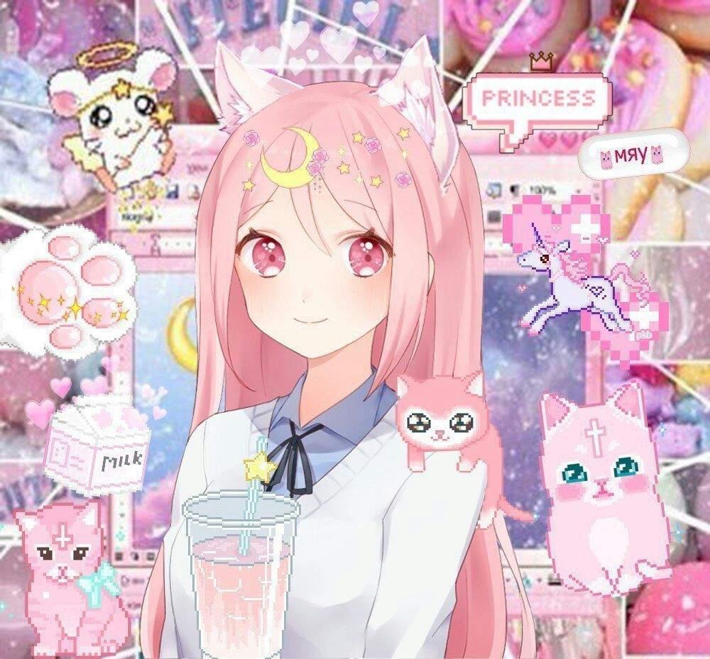 Аниме с розовыми волосами и розовыми глазами   картинки (10)