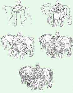Богатырь на коне рисунок и срисовки 029