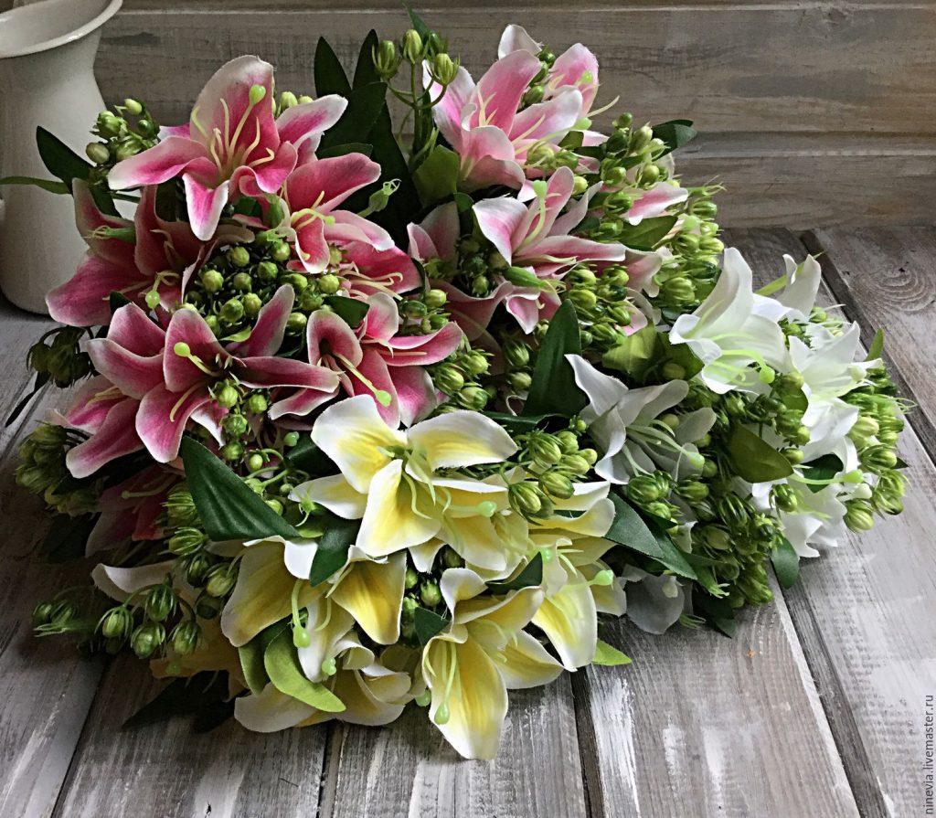 Цветов, огромный букет лилий фото