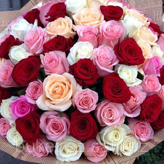 Букет из красных, розовых и белых роз   подборка фото (1)