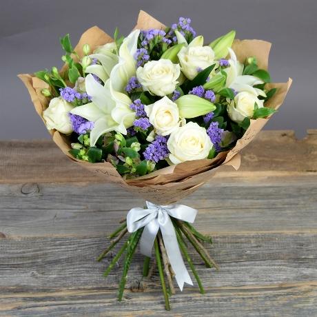 Букет из лилий и роз и хризантем   подборка фото (1)