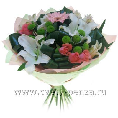 Букет из лилий и хризантем и роз001