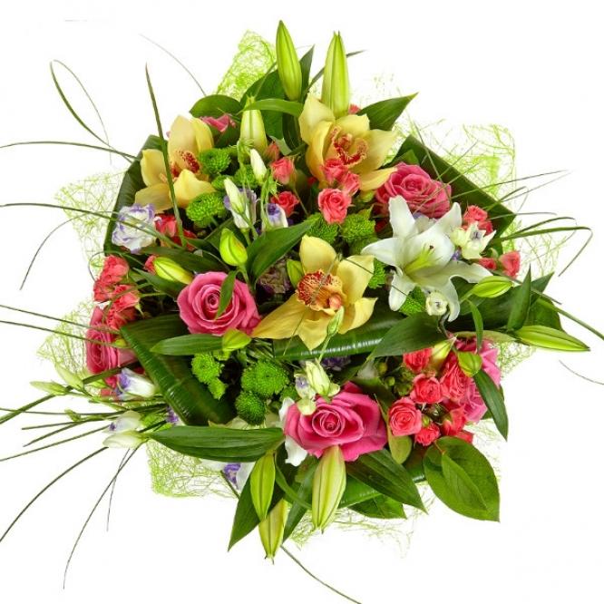 Букет из лилий и хризантем и роз003