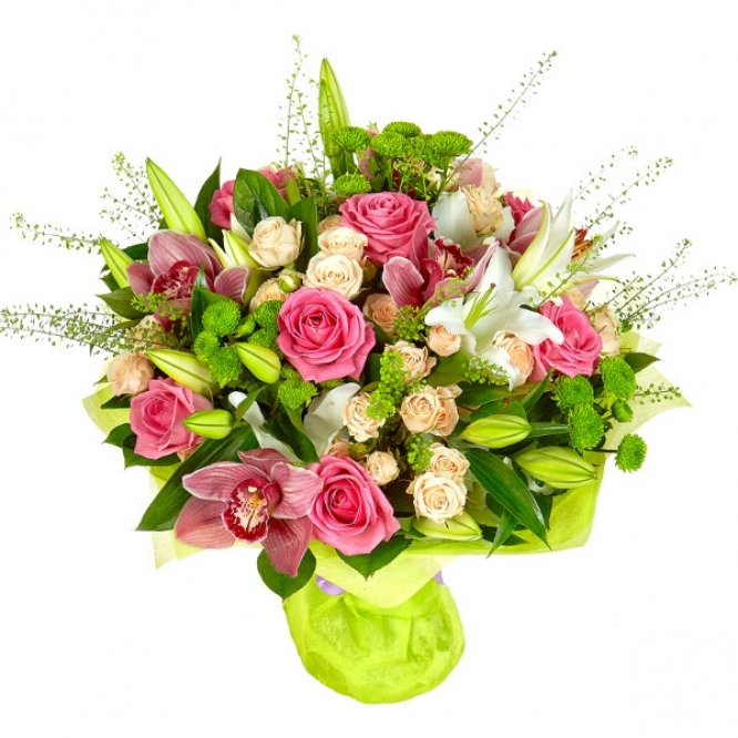 Букет из лилий и хризантем и роз004