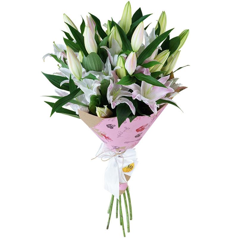 Букет из лилий и хризантем и роз011
