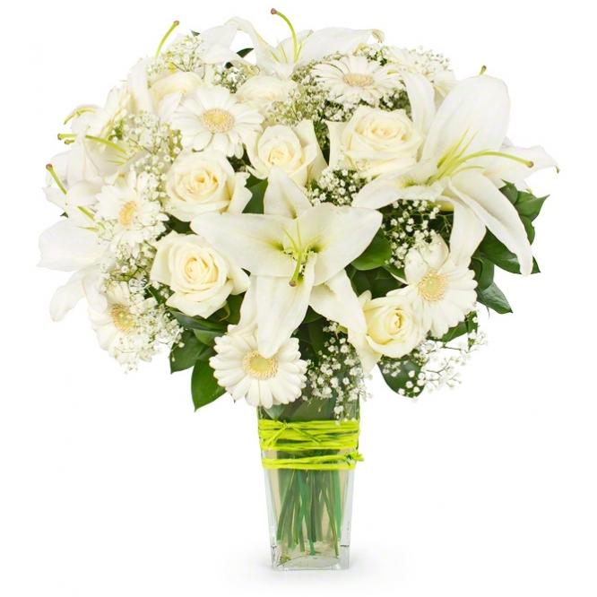 Букет из лилий и хризантем и роз012