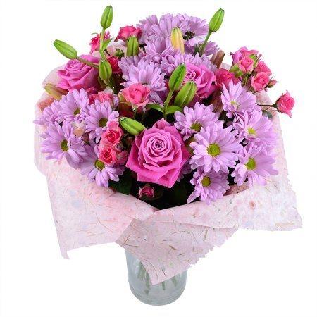 Букет из лилий и хризантем и роз015
