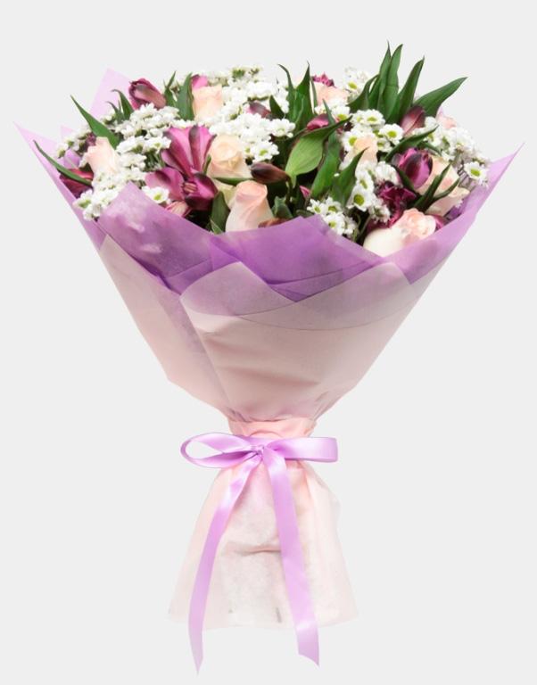 Букет из лилий и хризантем и роз019