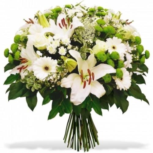 Букет из лилий и хризантем и роз022