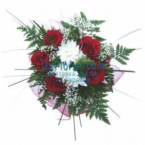 Букет из 3 роз и 2 хризантем   подборка фото (31)