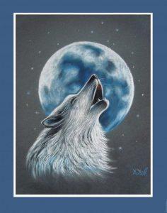 Воющий волк на луну рисунок и картинки 025