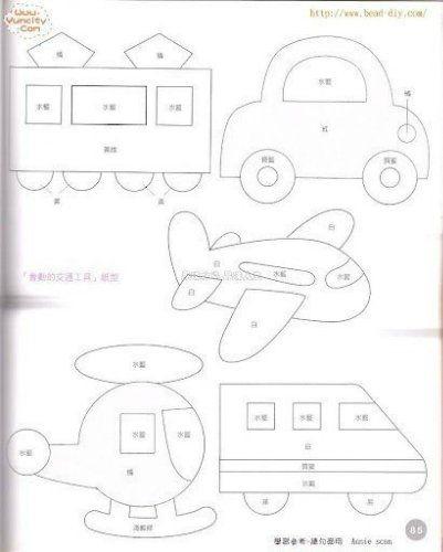 Выкройки из фетра транспорт   картинки019