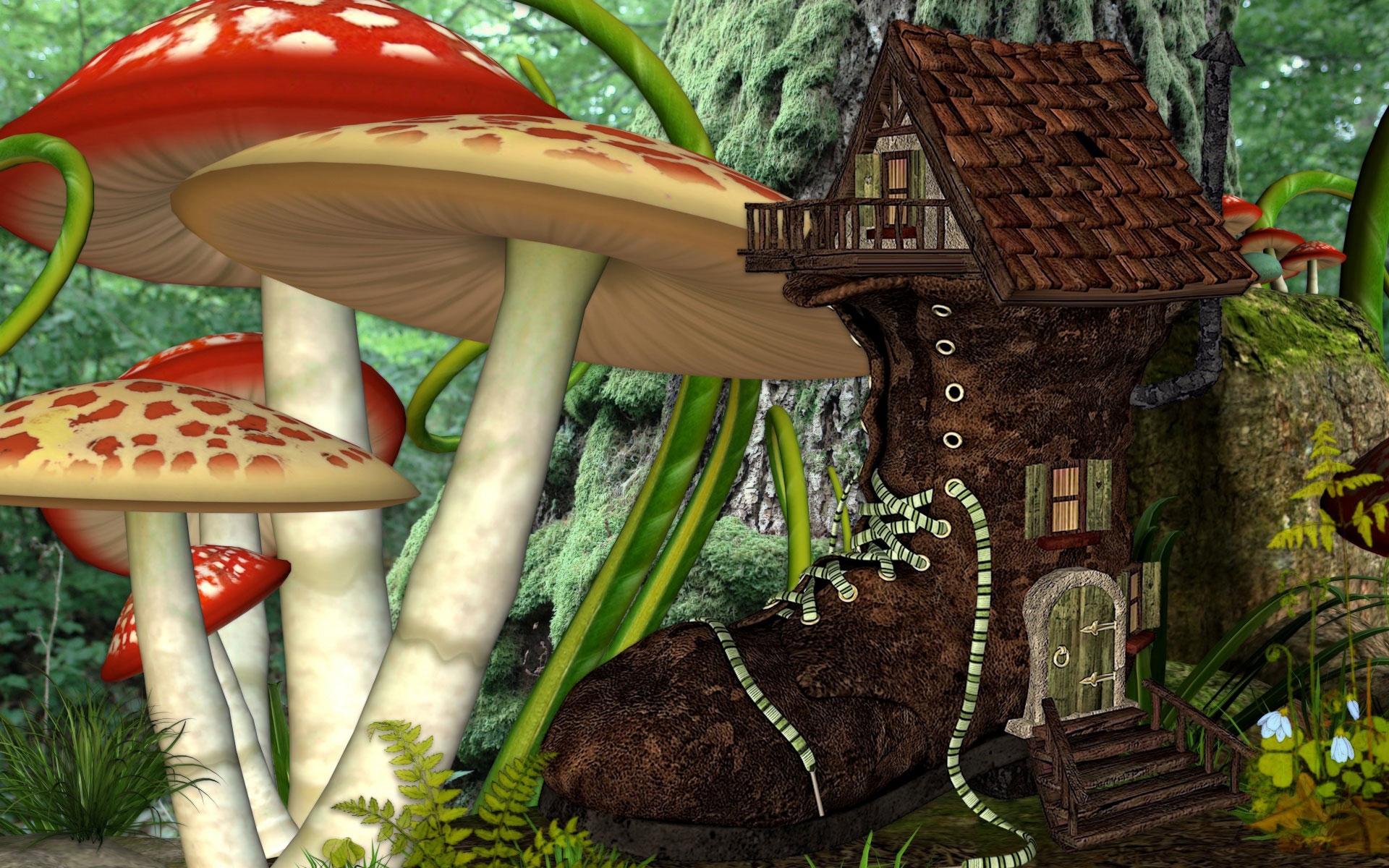 гриб домик картинки фэнтези перешел
