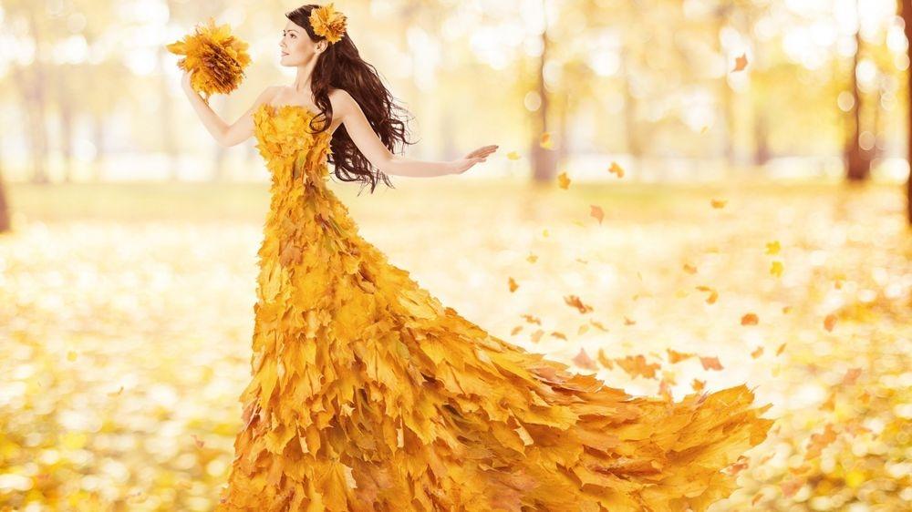Девушка из листьев в платье   фото 002