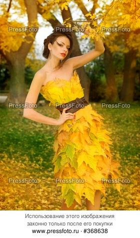 Девушка из листьев в платье   фото 003