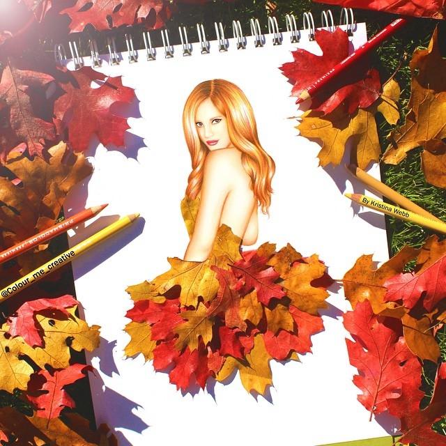 Девушка из листьев в платье   фото 004