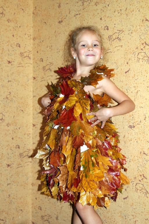 Девушка из листьев в платье   фото 005