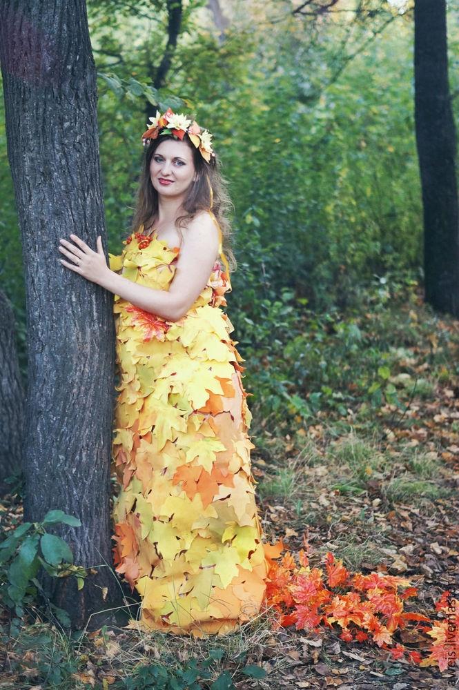Девушка из листьев в платье   фото 007