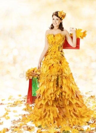Девушка из листьев в платье   фото 009
