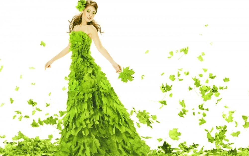 Девушка из листьев в платье   фото 011