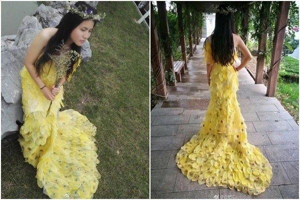 Девушка из листьев в платье   фото 013