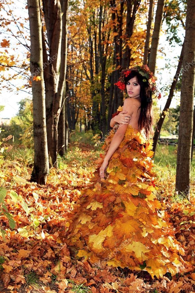 Девушка из листьев в платье   фото 015