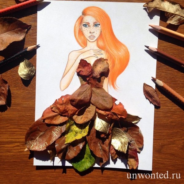 Девушка из листьев в платье   фото 017