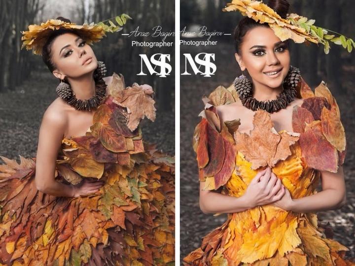 Девушка из листьев в платье   фото 018