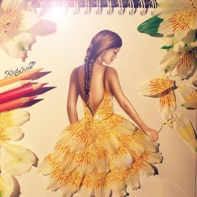 Девушка из листьев в платье   фото 019