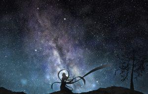 Девушка и звездное небо   красивые фото 028