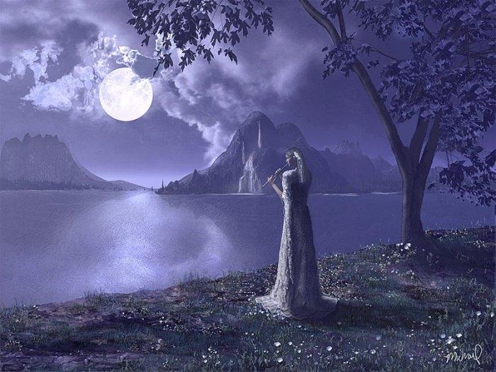 Девушка и луна фото и картинки 029