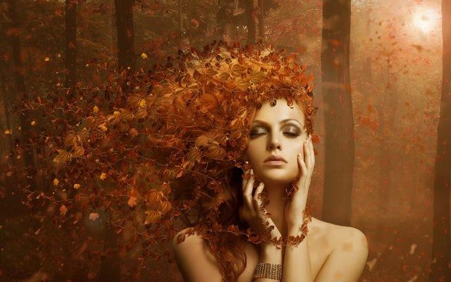Девушка и осень картины   подборка001