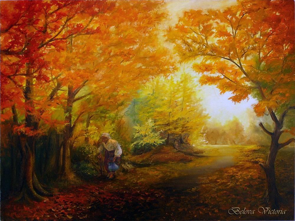 Девушка и осень картины   подборка004