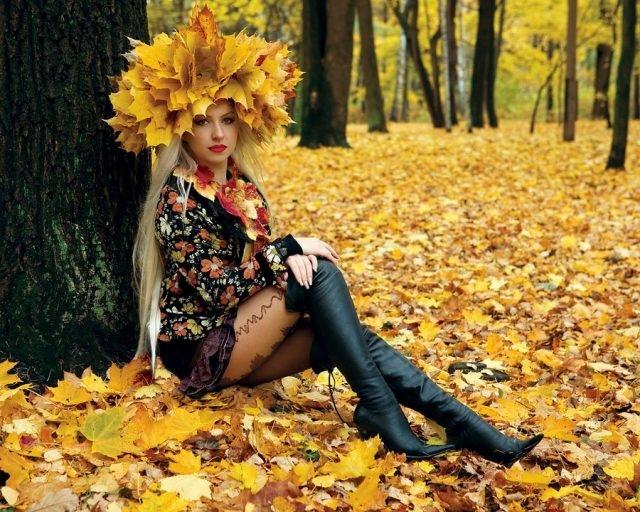 Девушка и осень картины   подборка024