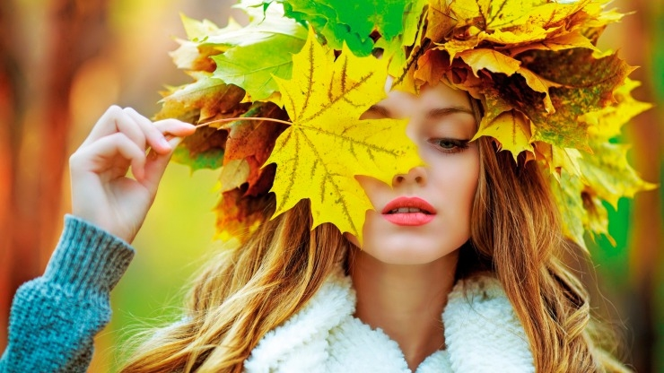 Девушка и осень картины   подборка027