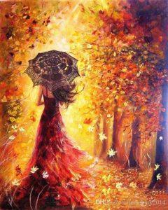 Девушка и осень картины   подборка028