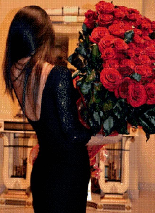 Девушка сзади с цветами   красивые фото 021