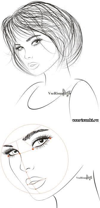 Девушки в очках как нарисовать   рисунки 024