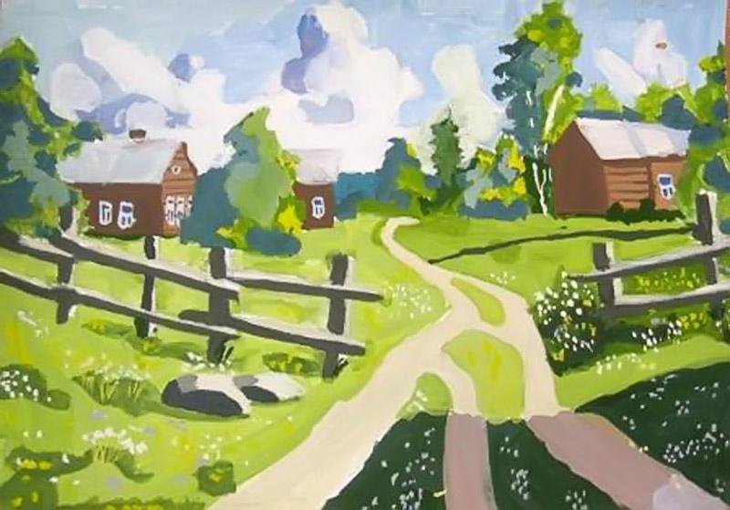 Рисунок на тему деревня