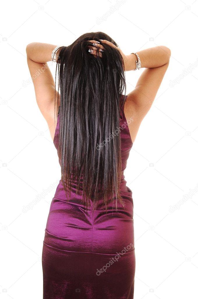 Длинные волосы черные со спины фото 012