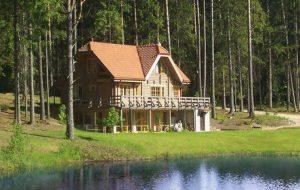 Дом в лесу на берегу озера   фото (18)