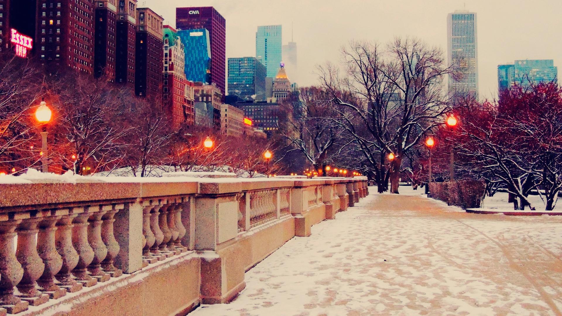 Зима в городе   обои для рабочего стола (5)