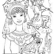 Иллюстрация к сказке царевна лягушка картинки раскраски   для детей 028